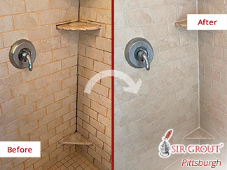 Before and After Image of a Shower After a Grout Sealing in Pittsburgh
