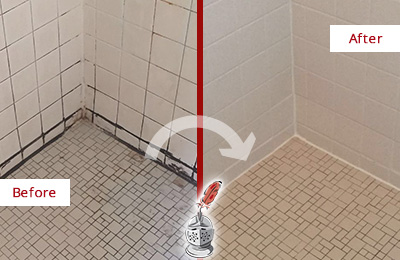 Before and After Picture of Bathroom Caulking on a Shower with Mold and Mildew