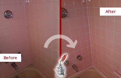 Before and After Picture of a Bathroom Caulking in a Bathtub Area