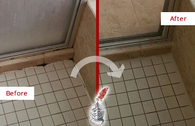 Picture of Damaged Shower Joints Before and After a Bathroom Recaulking
