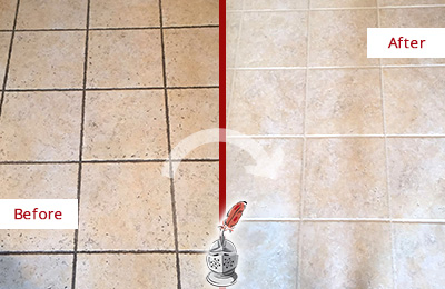 Before and After Picture of Tile Floor with Grimy Grout  Recolored and Sealed for Extra Protection