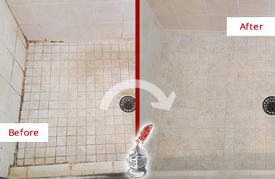 Before and After Picture of a Springdale Shower Caulked to Fix Cracks