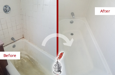 Before and After Picture of a Springdale Bathtub Caulked to Repair Cracks