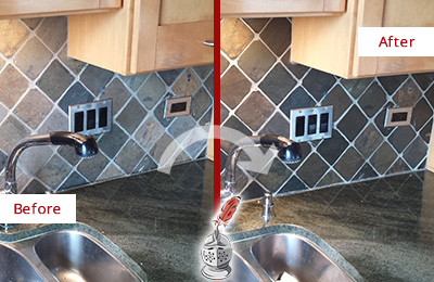 Before and After Picture of a Springdale Backsplash Caulked to Fix and Prevent Water Leaks