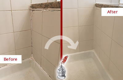 Before and After Picture of a Springdale Shower Caulked to Repair Damaged Caulking