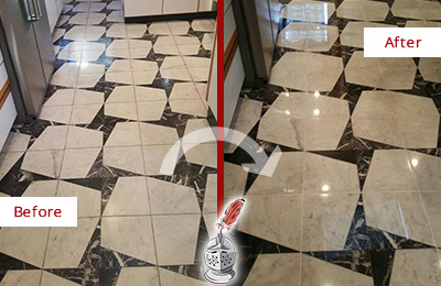 Before and After Picture of a Dull Coraopolis Marble Stone Floor Polished To Recover Its Luster