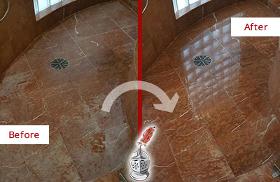 Before and After Picture of a Coraopolis Marble Stone Shower Polished to Eliminate Mineral Deposits