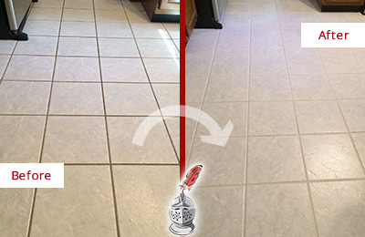 Before and After Picture of a Noblestown Kitchen Ceramic Floor Sealed to Protect From Dirt and Spills