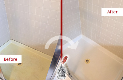 Before and After Picture of a Noblestown Shower Sealed to Remove and Protect Against Mold