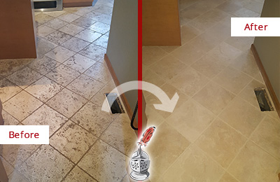 Before and After Picture of a Russellton Kitchen Marble Floor Cleaned to Remove Embedded Dirt