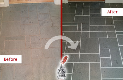 Before and After Picture of a Russellton Slate Floor Cleaned to Remove Deep-Seated Dirt