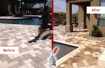 Before and After Picture of a Dull Russellton Travertine Pool Deck Cleaned to Recover Its Original Colors