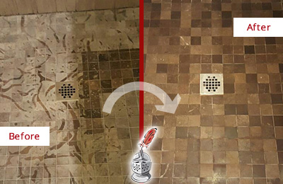 Before and After Picture of a Stained Russellton Marble Shower Floor Cleaned to Remove Etching