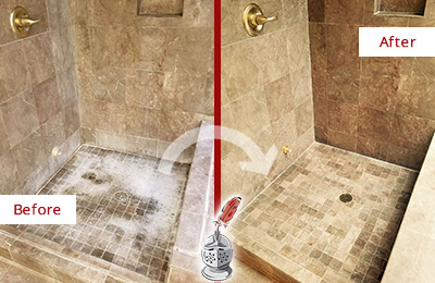 Before and After Picture of a Russellton Travertine Shower Cleaned to Eliminate Water Spots