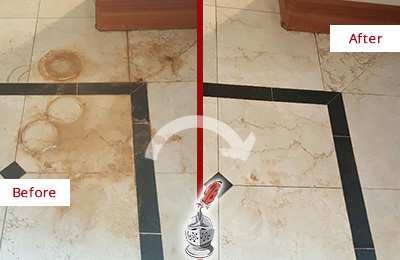 Before and After Picture of a Russellton Marble Floor Cleaned to Eliminate Rust Stains