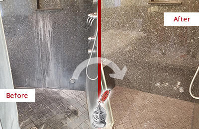 Before and After Picture of a Verona Granite Shower Stone Sealed to Avoid Mineral Deposits