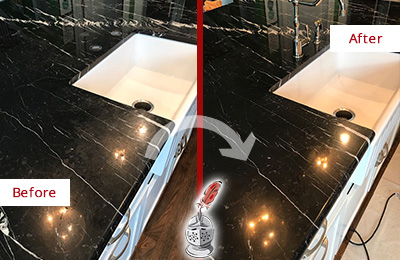 Before and After Picture of a Verona Marble Kitchen Countertop Stone Sealed to Avoid Water Damage