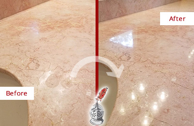 Before and After Picture of a Rural Ridge Marble Stone Vanity Top Sealed to Avoid Water Marks