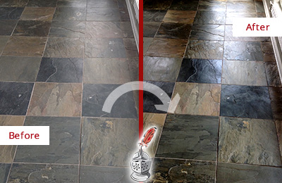 Before and After Picture of a Cedarhurst Slate Stone Floor Sealed to Eliminate Dullness