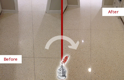 Before and After Picture of a Dull Observatory Granite Floor Honed to Recover Its Sheen