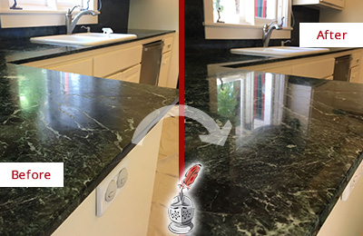 Before and After Picture of a Observatory Marble Kitchen Countertop Honed to Remove Water Marks