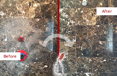 Before and After Picture of a Observatory Marble Shower Honed to Remove Scratches