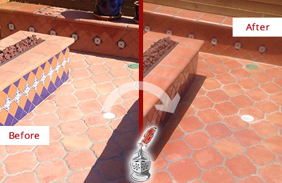 Before and After Picture of a Greentree Hard Surface Restoration Service on a Dull Terracotta Patio Floor to Recover Its Color