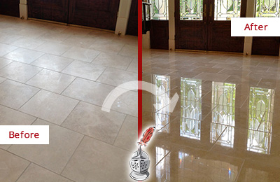 Before and After Picture of a Bellevue Hard Surface Restoration Service on a Dull Travertine Floor Polished to Recover Its Splendor