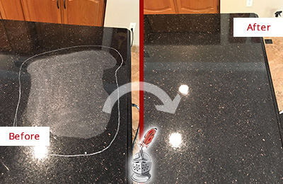 Before and After Picture of a Bellevue Hard Surface Restoration Service on a Granite Countertop to Remove Scratches