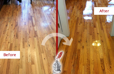 Before and After Picture of a Bellevue Hard Surface Restoration Service on a Worn Out Wood Floor