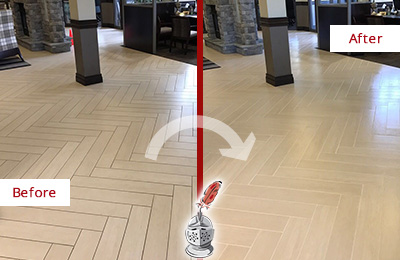 Before and After Picture of a Neville Island Lobby Floor Cleaned to Even the Grout Color