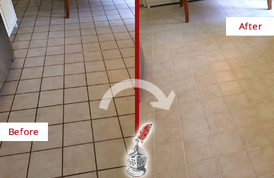 Before and After Picture of a Sharpsburg Kitchen Tile Floor with Recolored Grout
