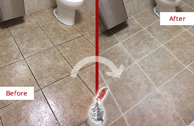 Before and After Picture of a Sharpsburg Office Restroom Floor Recolored Grout