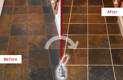 Before and After Picture of a Sharpsburg Slate Floor Recolored Grout