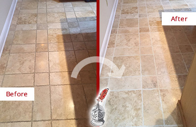 Before and After Picture of a Sharpsburg Travertine Kitchen Floor Recolored Grout