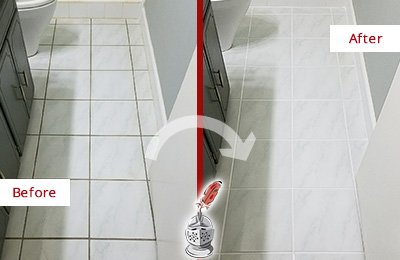 Before and After Picture of a Sharpsburg White Ceramic Tile with Recolored Grout