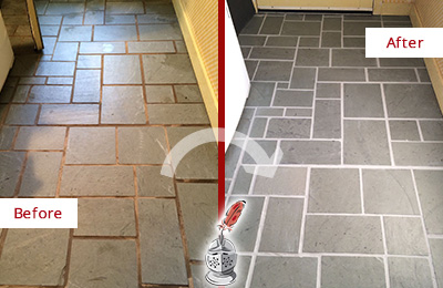 Before and After Picture of Damaged Etna Slate Floor with Sealed Grout