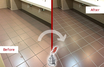 Before and After Picture of Dirty Etna Office Restroom with Sealed Grout