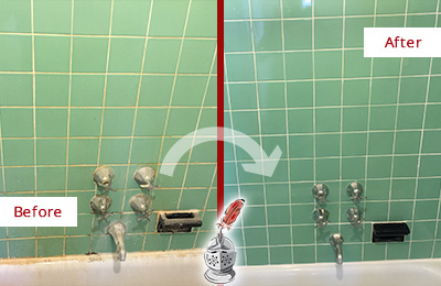 Before and After Picture of a Monroeville Bath Tub Grout Sealed to Avoid Water Damage
