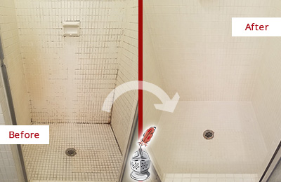 Before and After Picture of a Monroeville Bathroom Grout Sealed to Remove Mold