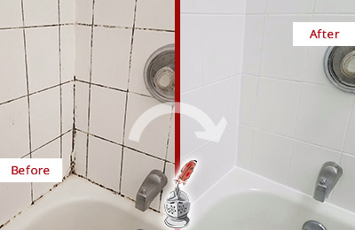 Before and After Picture of a Etna Tub with Sealed Grout to Eliminate Mold