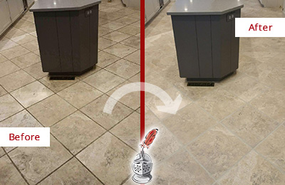 Before and After Picture of a Etna Kitchen Floor Grout Sealed to Remove Stains