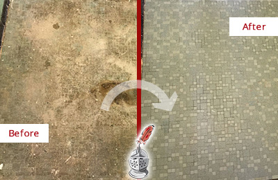 Before and After Picture of a Cedarhurst Mosaic Shower Cleaned to Eliminate Embedded Dirt