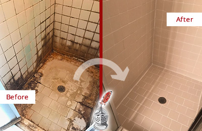 Before and After Picture of a Cedarhurst Ceramic Shower Cleaned to Remove Grime