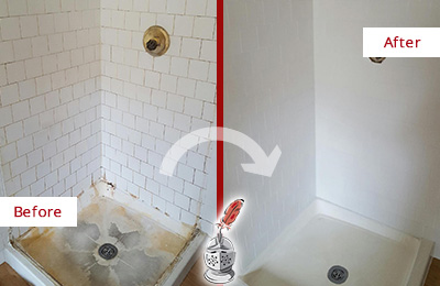 Before and After Picture of a Cedarhurst Shower Cleaned to Eliminate Mold