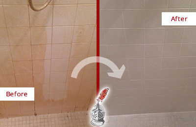 Before and After Picture of a Cedarhurst Porcelaine Shower Cleaned to Remove Soap Scum